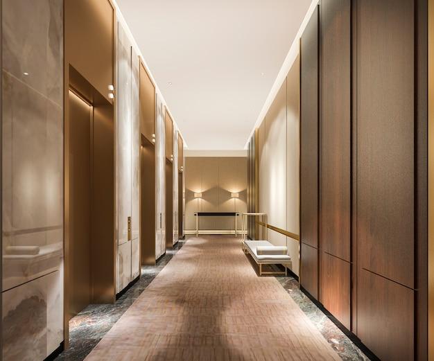 3d представляя современное стальное лобби лифта лифта в бизнес-отеле с роскошным дизайном