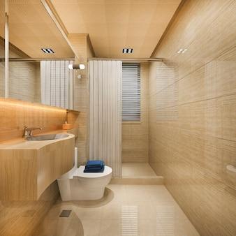 3d рендеринг дерева и плитки дизайн ванной возле окна