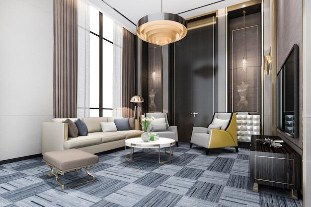 3d рендеринг классической гостиной в холле с люстрой и декором