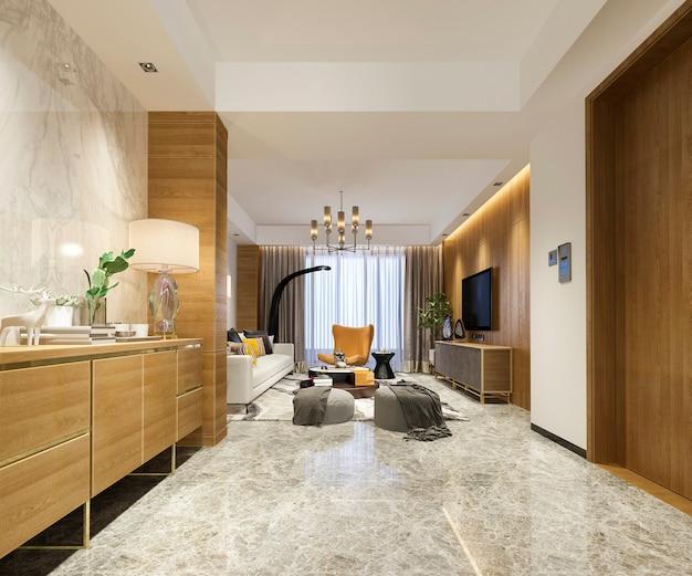3d рендеринг роскошной и современной гостиной с диваном и обеденным столом