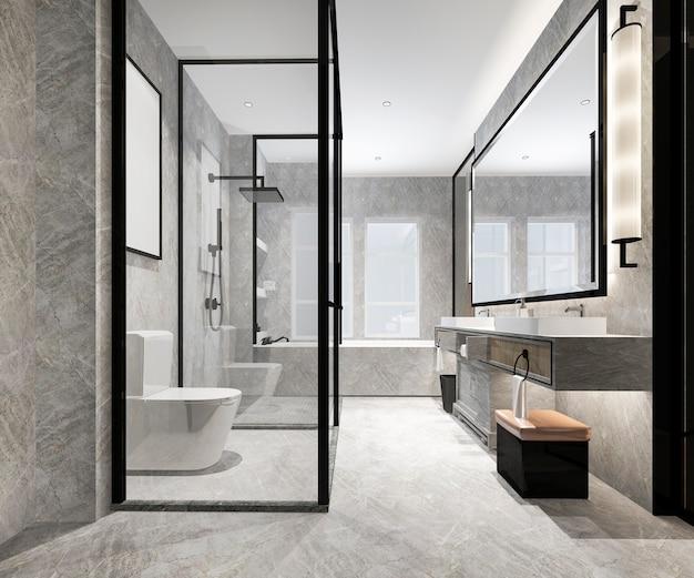 3d рендеринг роскошный современный дизайн ванной комнаты и туалета