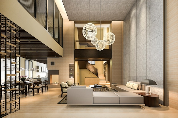 3d рендеринг роскошной и современной гостиной и столовой