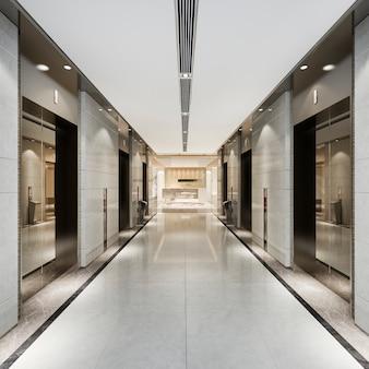 3d представляя современное стальное лобби лифта лифта в бизнес-отеле с роскошным дизайном около коридора