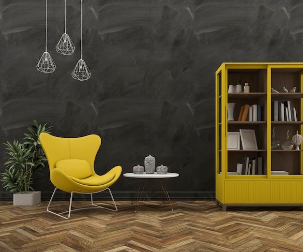 3d-рендеринг чердак стены с красивым желтым креслом и мебелью