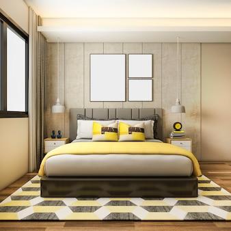 3d представляя красивый роскошный желтый комплект спальни в гостинице с тв