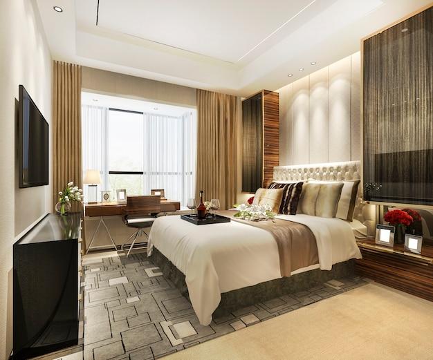 3d рендеринг красивая роскошная спальня в отеле с телевизором и рабочим столом