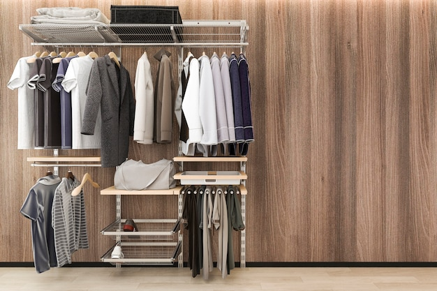 3d представляя минимальную скандинавскую прогулку в шкафе с стеной древесины дуба