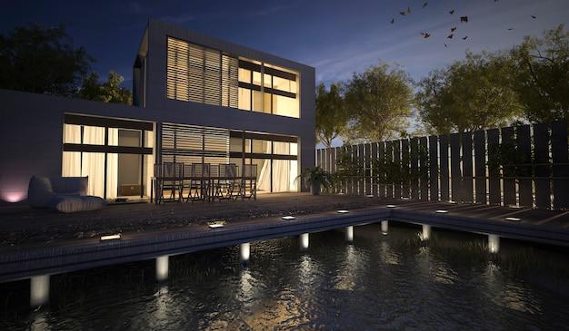 3d рендеринг современный дом с террасой ночью