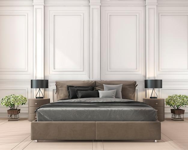 3d представляя коричневую классическую кровать в классической спальне с заводом