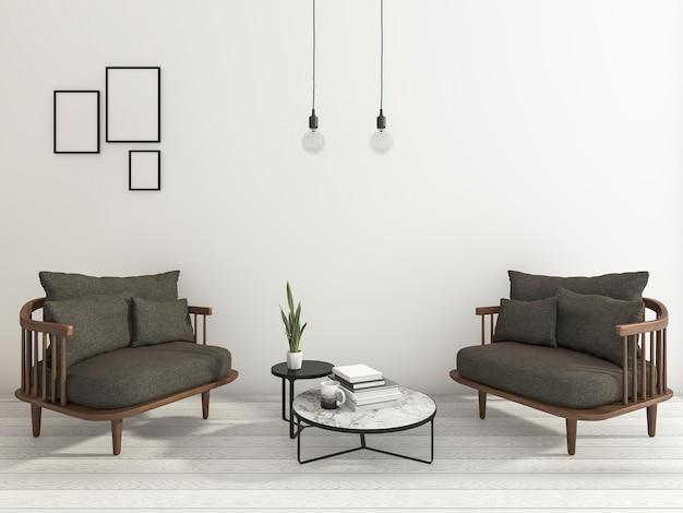 3d представляя славное кресло с книгой и чашкой и некоторой подвесной лампой в белой предпосылке