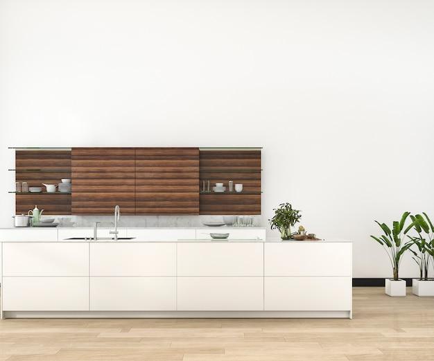3d рендеринг минимальная и ретро кухня в лофте