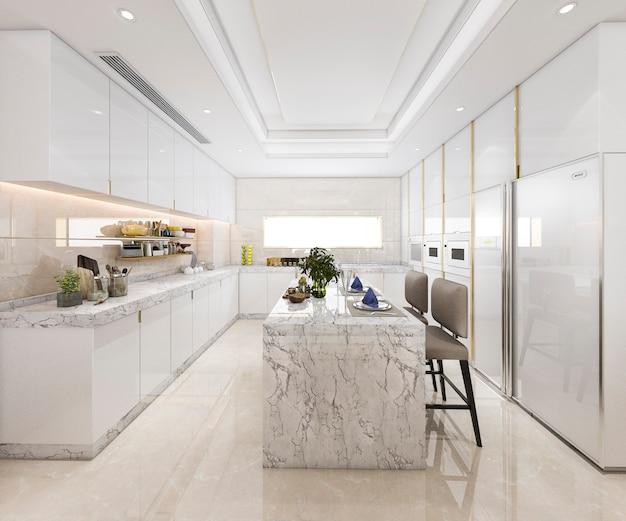 3d рендеринг белая минимальная кухня с роскошным украшением