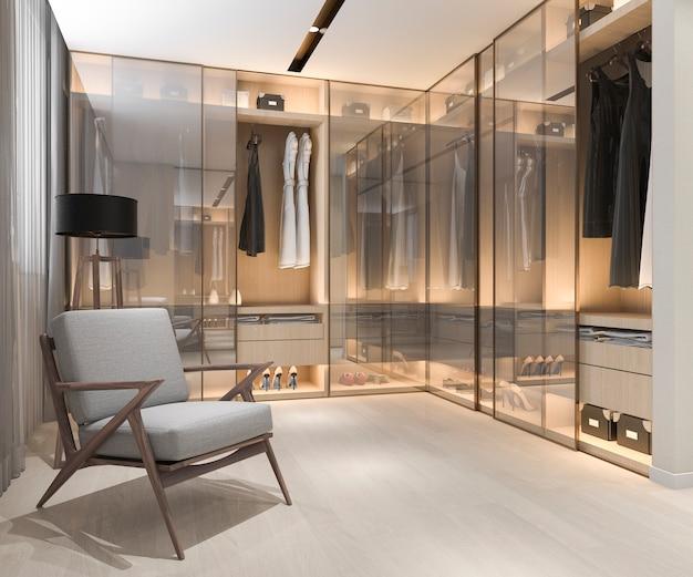 3d рендеринг минимальная скандинавская деревянная прогулка в шкафу с гардеробом