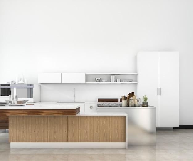 3d рендеринг белый минимальный макет чердак кухня с деревянной отделкой