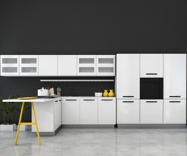 3d рендеринг белый минимальный макет кухня с деревянной отделкой