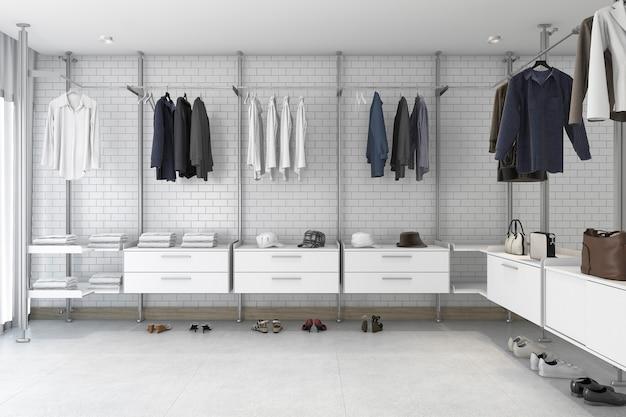3d рендеринг минимальная белая кирпичная прогулка в шкафу