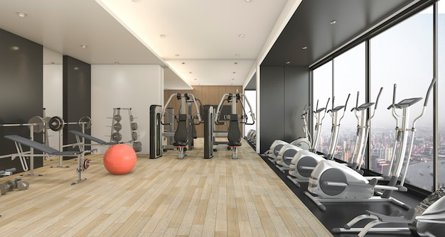 3d рендеринг современный деревянный и черный декор тренажерный зал и фитнес с красивым видом