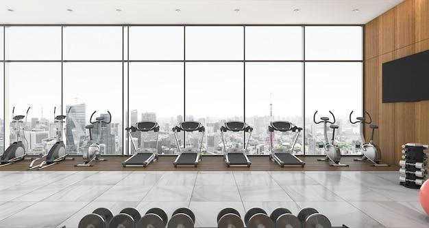 3d рендеринг в современном стиле фитнес и тренажерный зал с видом на город и небо