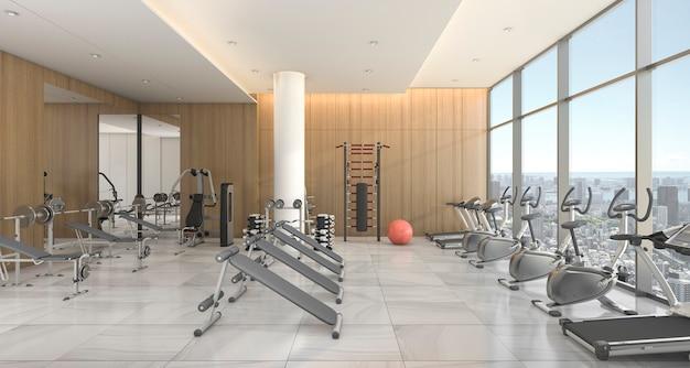 3d представляя современный и роскошный фитнес и спортзал с взглядом ковра и городского пейзажа от окна