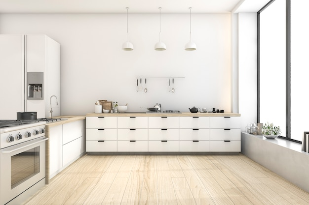 3d представляя белую кухню скандинавского стиля с лампой