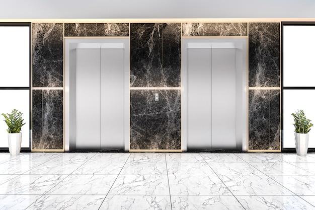3d представляя современное стальное лобби лифта лифта в бизнес-отеле с роскошью