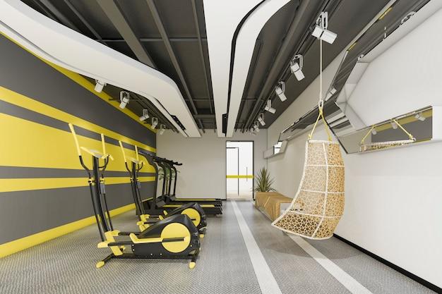 3d представляя современный желтый спортзал и фитнес