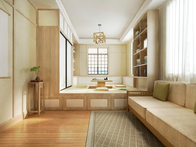 3d рендеринг в японском стиле гостиной