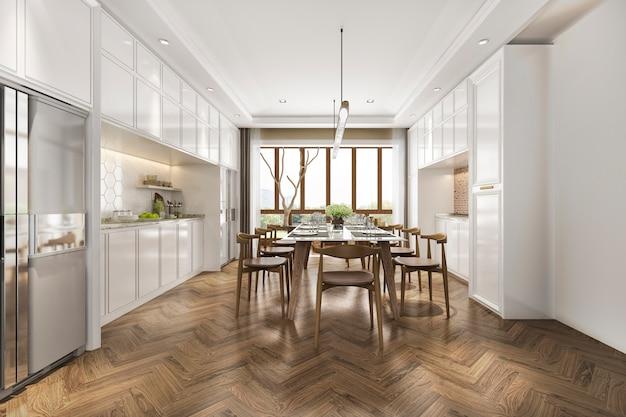 3d-рендеринг скандинавской винтажной кухни с обеденным столом
