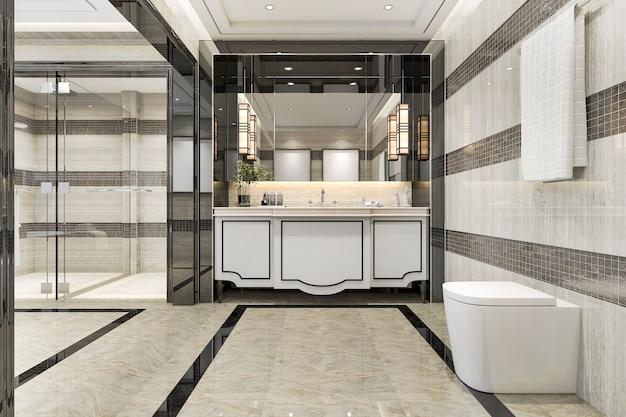 3d рендеринг современная ванная комната в мансарде с роскошным декором плитки