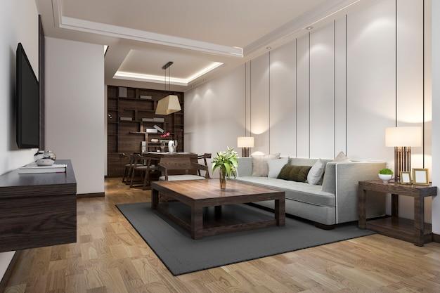 3d-рендеринг современной столовой и гостиной с роскошным декором