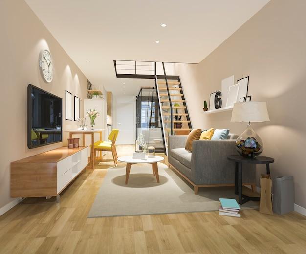 3d рендеринг белой деревянной гостиной возле спальни наверху