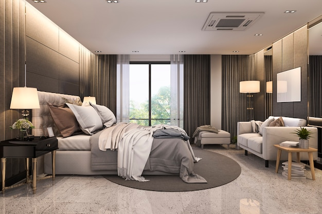 3d рендеринг современный лофт роскошный спальный гарнитур с диваном возле зеркала