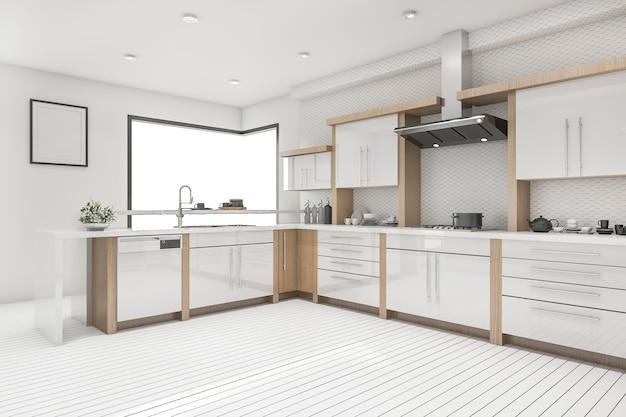 3d рендеринг белая скандинавская кухня и столовая