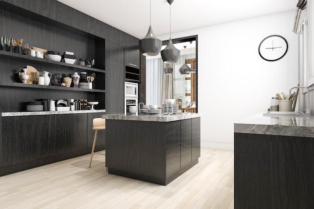 3d-рендеринг скандинавской кухни с белым и черным дизайном
