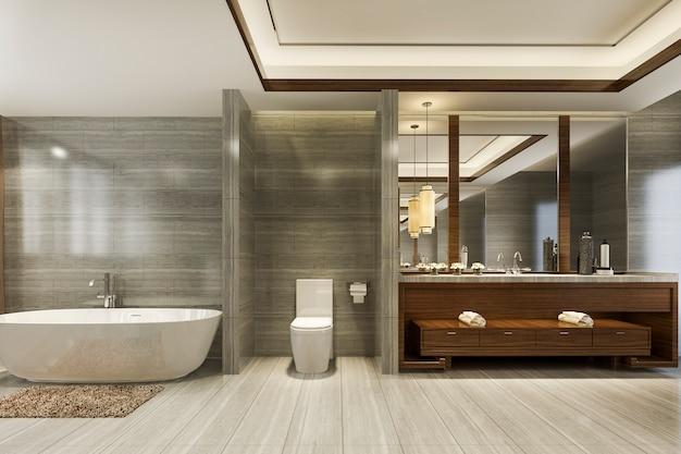 3d рендеринг современной ванной комнаты с роскошным декором плитки