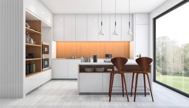 3d представляя белую современную кухню с баром около окна