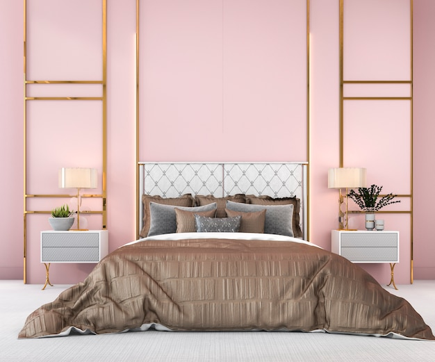 3d рендеринг старинный розовый минимальная спальня в скандинавском стиле