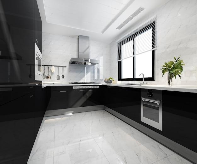3d-рендеринг скандинавской винтажной современной кухни со столовой