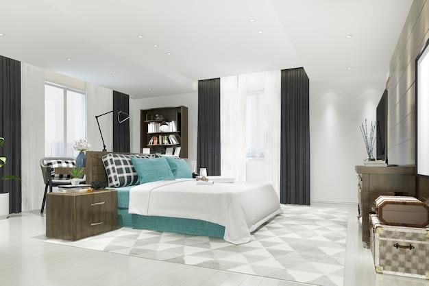 3d представляя красивый роскошный голубой комплект спальни в гостинице с тв и рабочим столом