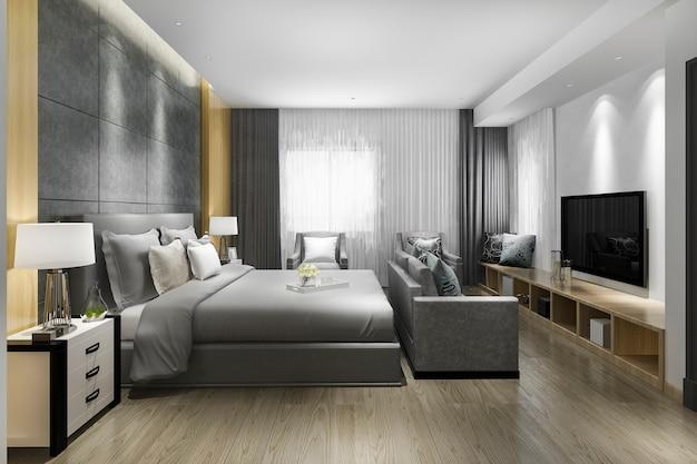 3d рендеринг красивая роскошная спальня в отеле с телевизором