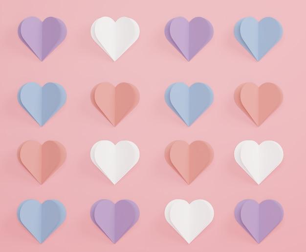 Абстрактная пастель бумажного сердца 3d для вашего дизайна. с днем святого валентина и юбилеем.
