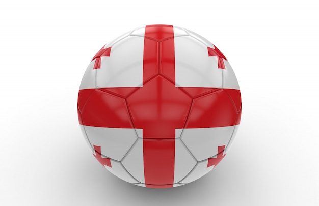 Футбольный мяч с флагом грузии; 3d-рендеринг