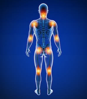 3d иллюстрация передней мужской боли в суставах