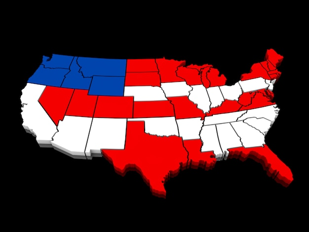 アメリカのカラフルな地図の3d