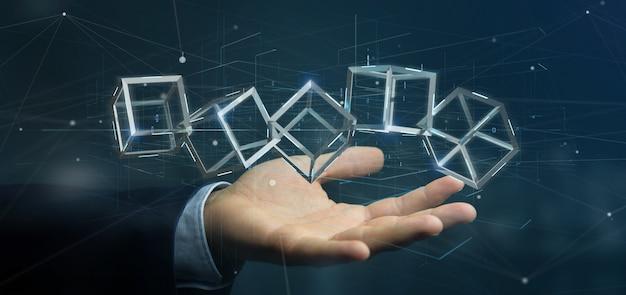 Бизнесмен держа куб блокчейна перевода 3d изолированный
