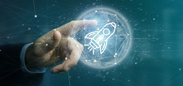 Бизнесмен, проведение запуска ракеты на сфере 3d-рендеринга