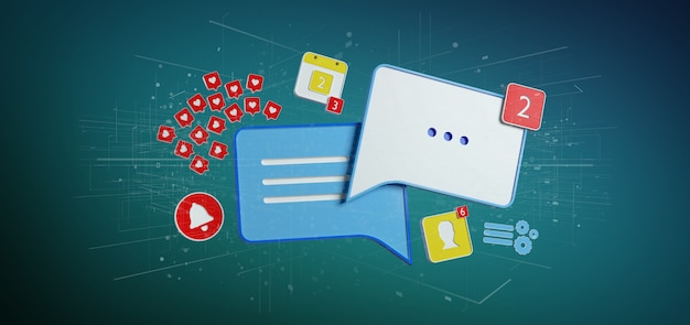 ソーシャルメディアの3dレンダリングのメッセージと通知