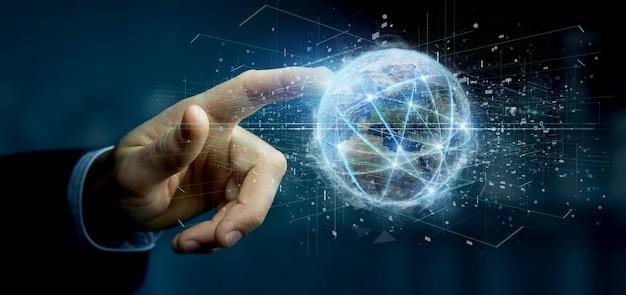 Человек держит соединение по всему миру изолированных 3d-рендеринга