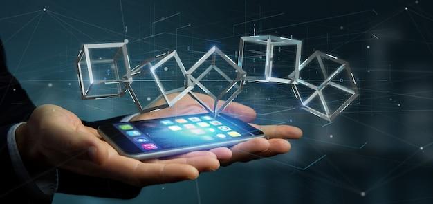 Бизнесмен держа куб блокчейна перевода 3d изолированный на предпосылке