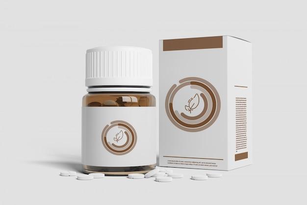 Фармацевтическая упаковка макет - 3d-рендеринг